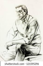 Original pencil  or drawing charcoal, and  hand drawn painting or  working  sketch of a man sitting.Free composition