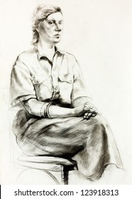 Original pencil  or drawing charcoal, and  hand drawn painting or  working  sketch of a woman sitting .Free composition