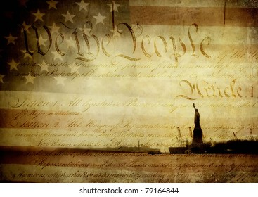 Original photographs of the Statue of Liberty and an old American flag layered with an image of the U.S. Constitution and textured with layers of worn paint.