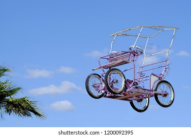 Original quadricycle takes flight to the sky.