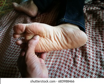 Original Reflexology foot massage .Finger pressure for reduce pain to foot.Health care choice from Thailand.