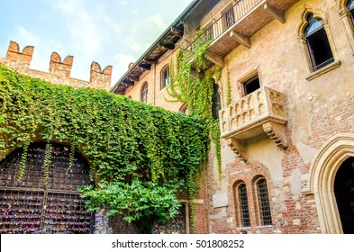 The original Romeo and Juliet balcony located in Verona, Italy