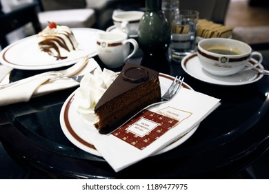 Original Sacher torte at Hotel Sacher in Salzburg, Austria on Sep. 22, 2018