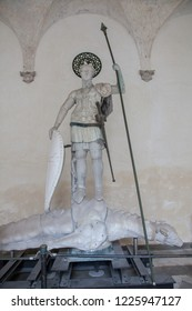 Original statue of St. Theodore, which was originally located on the column on St. Mark's Square in Venice