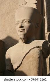 The original statue of Tutankhamun in the temple of Luxor in Egypt.