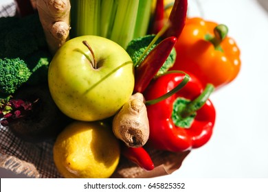 The original unusual edible bouquet of vegetables and fruitson white background