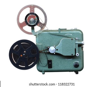 Original vintage eight millimeters celluloid movie film projector from past decades cutout isolated on solid background with working path included.
