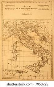 Original vintage map of Italy printed in 1780.