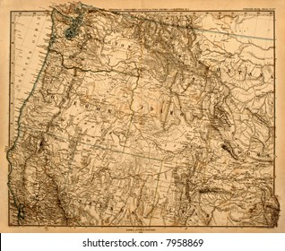 Original vintage map of the US Pacific Northwest printed in 1875.