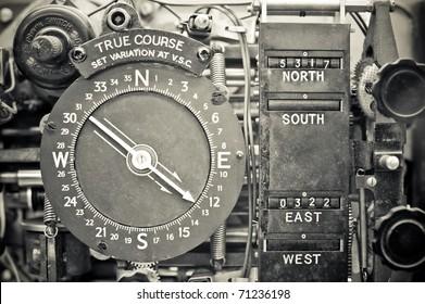 original vintage navigational compass device from the WW2 era