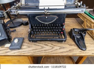 Original vintage office from 1940's in Central Europe. Original typewriter used by Oskar Schindler secretary to write the Oskar Schindler's list