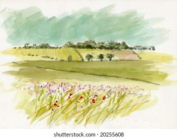 Original watercolor illustration by myself as the artist of an English Landscape