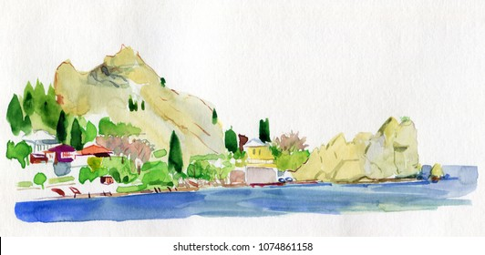 original watercolor painting on paper of a rocky bank is in the district of Gurzuf, Europe  plein air painting