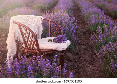 Original wedding decoration in lavender flowers. Sunset in the lavender garden, silence, peace, cozy, hygge. Rattan chair with plaid, nobody. Aromatherapy for lovers