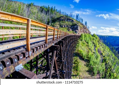 Originally one of 19 wooden railway trestle bridges built in the early 1900s in Myra Canyon, Kelowna, BC, it is now a public park with biking and hiking trails.