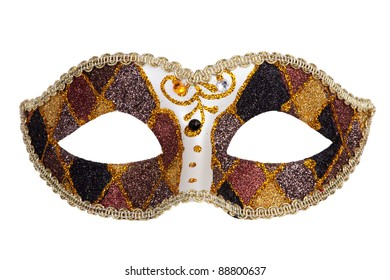 Originally painted a festive carnival mask golden brown on a white background