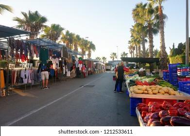 Orihuela Costa, Alicante, Spain - October 25, 2018: Weekly street food market in Cabo Roig