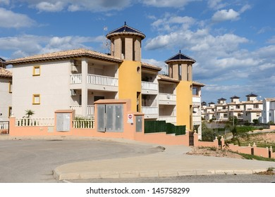 ORIHUELA COSTA, SPAIN - APRIL 6:  Residential complex in April 6, 2013 in Orihuela Costa, province of Alicante, Spain.  Orihuela Costa is recognized as the cleanest ecological region of Europe.  I