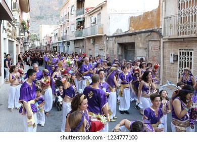 Orihuela, Spain - July 15, 2018: The Moros Almohabenos company on a street parade during the Moors and Christians (Moros y Cristianos) historical reenactment in Orihuela, Spain