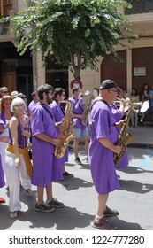 Orihuela, Spain - July 17, 2018: The Moros Almohabenos company band on a street parade during the Moors and Christians (Moros y Cristianos) historical reenactment in Orihuela, Spain