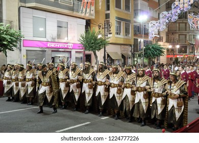 Orihuela, Spain - July 20, 2018: Knights of the Christian Pirate company on a street parade at the Moors and Christians (Moros y Cristianos) historical reenactment in Orihuela, Spain