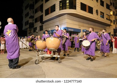 Orihuela, Spain - July 21, 2018: The Moros Almohabenos company band on a street parade during the Moors and Christians (Moros y Cristianos) historical reenactment in Orihuela, Spain