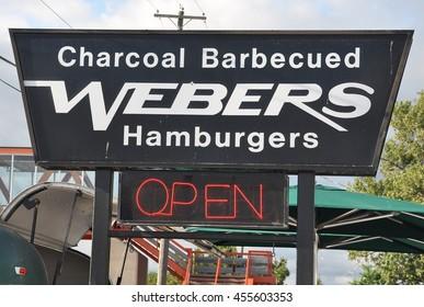 Orilla, Ontario, Canada - June 29,2016: Signage of Webers hamburgers restaurant in Orilla.