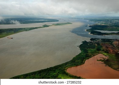 Orinoco river from the air while taking off from city of Guayana, Venezuela.