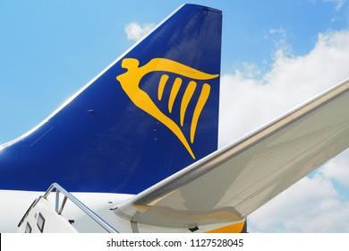 Orio al Serio Airport, Bergamo, Italy-23th June, 2018: tail of a Ryanair aircraft