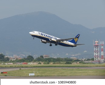 ORIO AL SERIO, ITALY - CIRCA AUGUST 2017: RyanAir Boeing 737-800 taking off