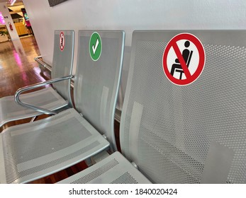 Orio al Serio, Lombardy / Italy - 20 September 2020: seats stickers prohibition sit prohibited social distancing covid-19