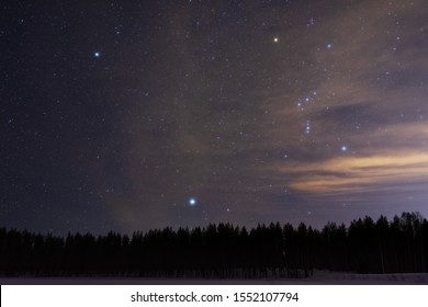 Orion and Canis Minor constellations and Sirius above boreal forest on a cold winter night