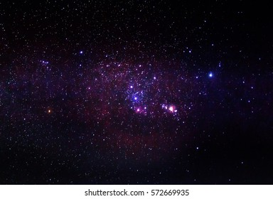 The Orion constellation with Nebula M42 and Barnards loop