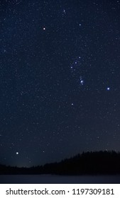 Orion constellation and Sirius rising above horizon on a cold winter night.