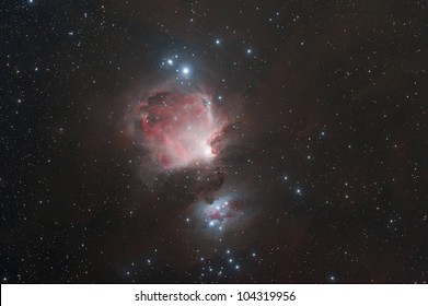 The Orion Nebula (also known as Messier 42, M42, or NGC 1976) is a diffuse nebula situated south of Orion's Belt.