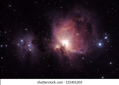 Orion Nebula (Messier M42) and the Running Man Nebula (NGC1977, left), two diffuse nebulas south of the Orion's belt in the constellation of Orion. 45minutes of exposure.