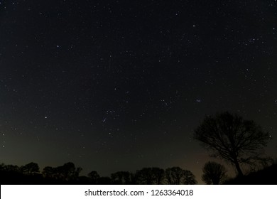 Orion in the night sky during the Geminid meteor shower in December Oakley Hampshire