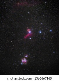 Orion, Runnning Man and Fire nebula together with Rigel and other stars