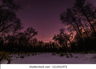 Orion's belt in the northern winter sky