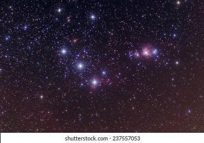 Orion's Belt with pointed stars