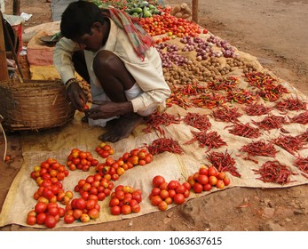 ORISSA,  INDIA - NOV 12, 2009 - Tribal villager sells vegetables  in weekly market   in Ankadeli, Orissa in India