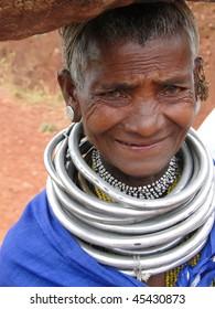 ORISSA INDIA - Nov 12 - Bonda tribal woman poses for a portrait on her way to the  weekly market on 12 Nov 2009 in Ankadeli, Orissa in India