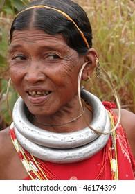 ORISSA,  INDIA - NOV. 12 : Bonda tribal woman poses for a portrait on her way to the  weekly market on Nov 12, 2009 in Ankadeli, Orissa, India