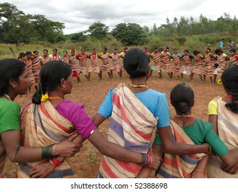 ORISSA,  INDIA - Nov 12 -Tribal women link arms for Gdaba harvest dance on Nov 12, 2009, in Lamptaput, Orissa, India