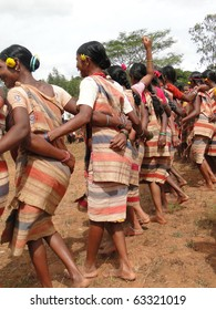 ORISSA,  INDIA - NOV 12 -Tribal women link arms for Gdaba harvest dance on Nov 12, 2009, in Lamptaput, Orissa, India