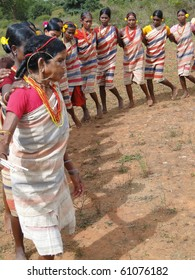 ORISSA,  INDIA - NOV 12 -Village women form a circle for Gdaba harvest dance on Nov 12, 2009, in Lamptaput, Orissa, India
