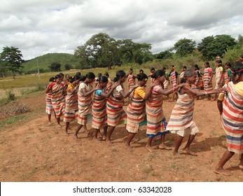 ORISSA,  INDIA - NOV 12 - Village women form a circle for Gdaba harvest dance on Nov 12, 2009, in Lamptaput, Orissa, India