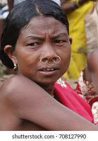 ORISSA,  INDIA - NOV 13, 2009  - Tribal woman poses for her portrait