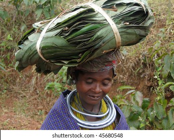 ORISSA,  INDIA - NOVEMBER 12 : Bonda tribal woman poses for a portrait on her way to the  weekly market on November 12, 2009 in Ankadeli, Orissa in India