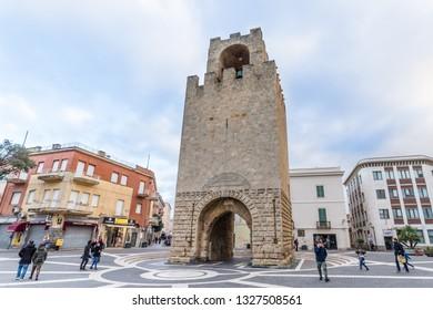 Oristano, Sardinia island, Italy - December 12, 2019: Tower of Saint Cristoforo in the center of Oristano, Srdainia island